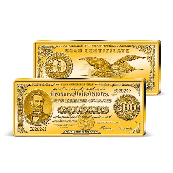 Barrenprägung 500 Dollar Gold Zertifikat 1922 DE_9171360_1
